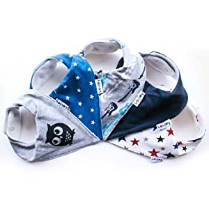 Lovjoy Bandana Drool Baby bibs (5 PACK - LITTLE STAR) Super Absorbent & Soft for Ultimate Comfort with Adjustable Snaps- Cute Baby Gift for Boys & Girls.