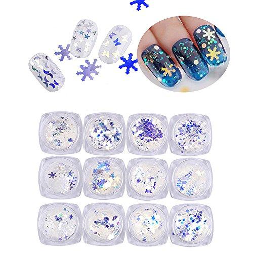 LHWY 12pc Nail Art paillettes colorées de Fluorescence Nail Stickers ongles