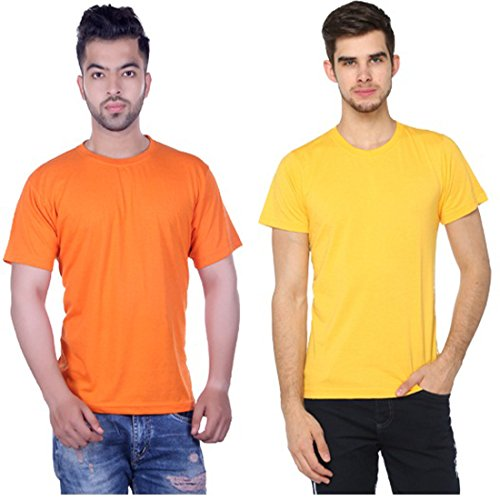 Harbor N Bay Men's Solid Orange and Yellow Combo T-Shirt (COMBO-3 Orange & Yellow, X-Large)  available at amazon for Rs.299