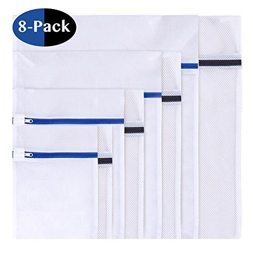 8 Stück Wäschenetz, Wäschesack Wäschetasche Set Waschbeutel für empfindliches, Bluse, Strumpfwaren, BH, Unterwäsche, Socken (feinmaschig & grobmaschig) mit Reißverschluss