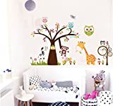 Rainbow Fox Dschungel-Zoo Animal Aufkleber Wandaufkleber Baum Eule Giraffe Affe Wand Aufkleber Kunst RF3001