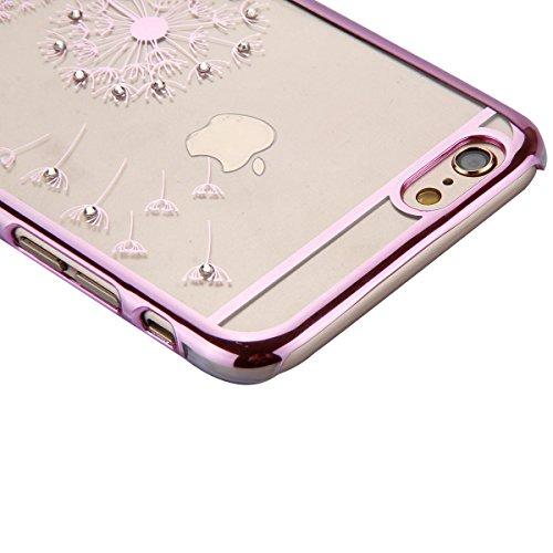 Cover iPhone SE,Cover iPhone 5S,Cover iPhone 5, ikasus® iPhone SE / 5S / 5 Case Custodia Cover [Cristallo Trasparente] Protettiva trasparente con il modello del dente di leone che scorre copertura dur dente di leone:Rosa