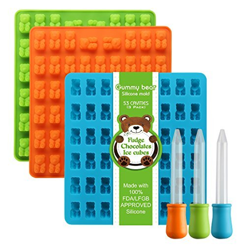 Silicone Gummy Bear Molds 53 Cavities, 3 Bonus Droppers Perfect for Mints Chocolates Fudge Ice Cubes, BPA Free FDA Approved ( Blue, Green, Orange) by Lizber by Lizber