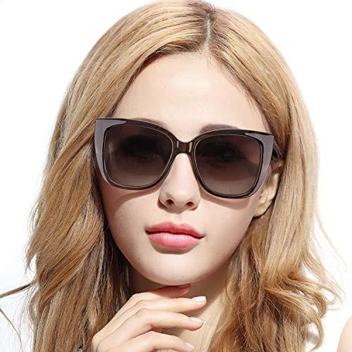 Pdnlds Polarisiert Sonnenbrille Damen Cateye Retro Groß 100% UVA UVB Schutz Hoch Anti Reflexbeschichtung für Autofahren Reisen
