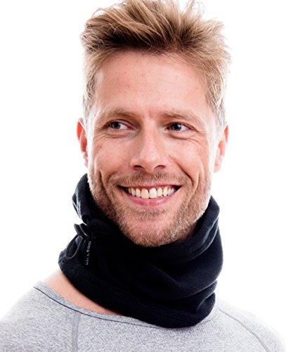 Hilltop Polar Multifunktionstuch / Mütze / Motorradmaske / Skimaske / Kälteschutz / Gesichtsmaske / Halswärmer/ Polar Halstuch mit Kordelzug 100 % Fleece, Design / Farbe:schwarz