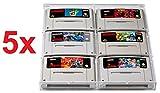 5 x UV Absorptive Acrylbox für Super Nintendo und Nintendo 64 Spiele Hüllen Case Gamecase Schutzhüllen Schutz I Für Spiele Wie Super Mario World Kart Donkey Kong Country Street Fighter Yoshis