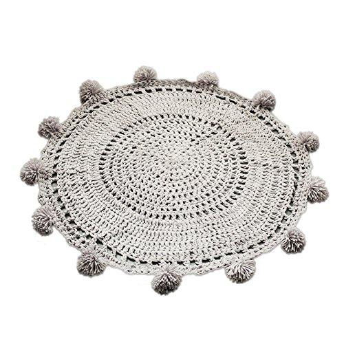 beiguoxia 80cm hecho a mano alfombra de suelo Tejido de punto de ganchillo bebé niños alfombra de juegos decoración del hogar, gris claro, talla única