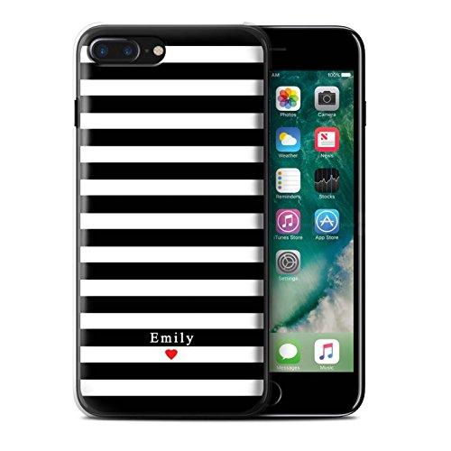 Personalisiert Individuell Streifen/Gestreift Hülle für Apple iPhone 6 / Knickenten Streifen Herz Design / Initiale/Name/Text Schutzhülle/Case/Etui Schwarz Streifenherz