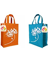 GREAN Printed Jute Lunch Bag Combo (Pack Of 2) Reusable Bags