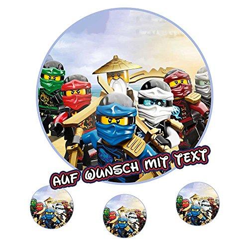 Tortenaufleger eßbar Geburtstag Tortenbild Zuckerbild - Lego Ninjago (Oblatenpapier) (Und Farben Ninjago-namen)