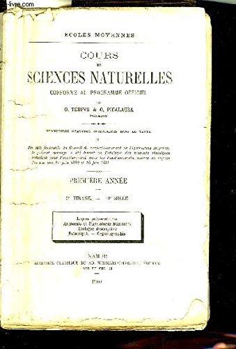 COURS DE SCIENCES NATURELLES CONFORME AU PROGRAMME OFFICIEL - ECOLES MOYENNES - PREMIERE ANNEE 3E TIRAGE - LECONS PREPARATOIRES ANATOMIE ET PHYSIOLOGIE HUMAINES ZOOLOGIE DESCRIPTIVE BOTANIQUE ORGANIOGRAPHIE. par O.TERFVE & O.PICALAUSA