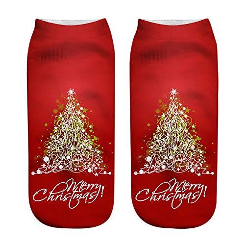 Oliviavan Socken Winter Damen Kinder Unisex Weihnachtsstrümpfe Christmas 3D Fashion Casual Socken gedruckt Niedliche Low Cut Söckchen Süß Stricksocken