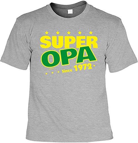 T-Shirt zum Geburtstag: Super Opa since 1972 - Tolle Geschenkidee - Baujahr 1972 - Farbe: dunkelgrau Dunkelgrau