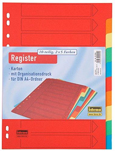 Idena 302004 - Register DIN A4, 10-teilig aus Karton