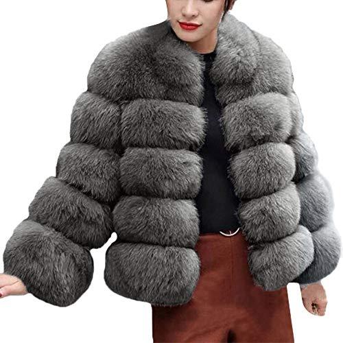 iHENGH Damen Herbst Winter Bequem Mantel Lässig Mode Jacke Frauenmode Luxus Faux Pelzmantel Stand Herbst Winter Warm Mantel