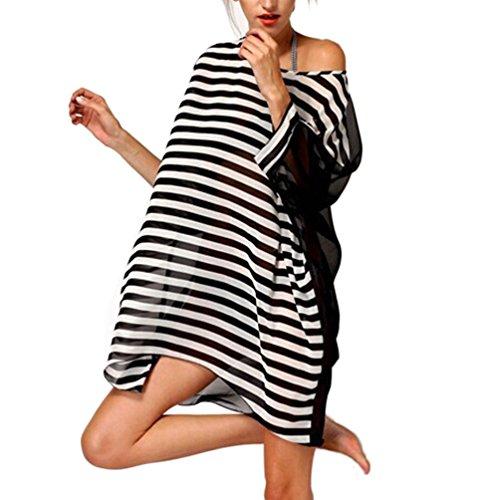 Mavis's Diary Femme Robe de Plage Chiffon Mousseline de Soie Manches Chauve-souris Taille Unique Rayure Noir&Blanc multicouleur