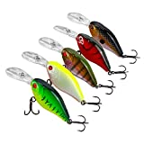 Goture artificiali duro esche 5PCS/Lot Minnow Crankbait Lure set con chiave di ganci per pesca alla trota Bass Pike, Type 1: 5 pieces crankbait 0.28 oz