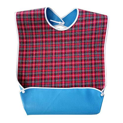 MINGZE Wasserdichte Lätzchen für Erwachsene, Waschbar Kleidungsschutz Wasserfest Schürze Latz mit Krümelfänger, für Erwachsene Kleiderschutz für Männer Frauen ältere Menschen Behinderte (Rot)