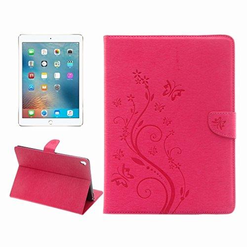 DuoShengZhTG Für iPad Pro 9.7 Zoll helle Farbe magnetische Schnalle Blumen Schmetterling Muster horizontalen Flip PU Ledertasche mit Halter & Card Slots & Wallet (Farbe : Magenta)
