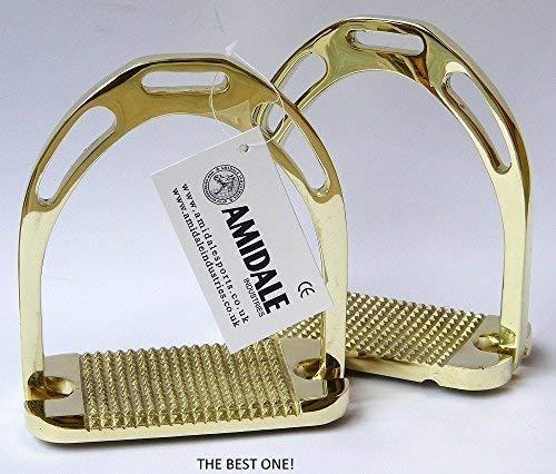 Amidale Jinn Steigbügel Reiten REIT Messing Golden Neu mit Etikett - 4.75