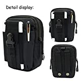 Waxun Tactical Molle Pouch, Compact Utility Belt Pouch Military Army EDC pouch Waterproof Gadget Tool Waist Bag Bumbag and Fanny Packs for Sports Outdoor Hiking Camping, Black