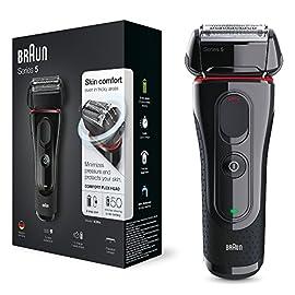 Braun Series 5 5030s Rasoio Barba Elettrico Ricaricabile a Lamina senza Fili da Uomo, con Rifinitore di Precisione Estraibile, Nero/Rosso