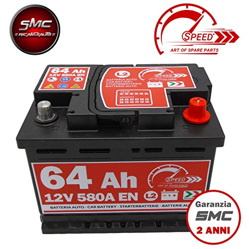BATTERIA AUTO SPEED BY SMC L264 12V 64Ah 580A POSITIVO POSITIVO A DESTRA (+ DX)