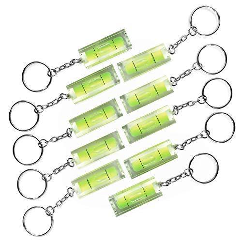 PHOTOLINI 10x Mini-Wasserwaage aus Acrylglas mit Schlüsselanhänger