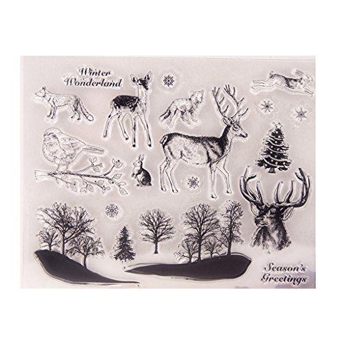 ECMQS Deer Birds DIY Transparente Briefmarke, Silikon Stempel Set, Clear Stamps, Schneiden Schablonen, Bastelei Scrapbooking-Werkzeug