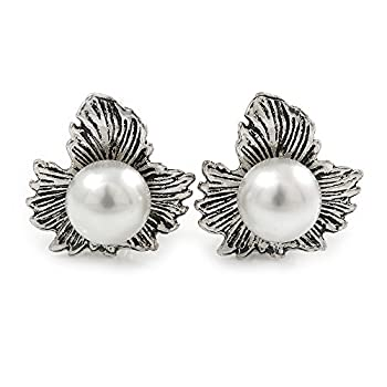 Vintage Inspired Maple Leaf With Simulated Pearl Bead Clip On Earrings In Silver Tone - 20mm L 0