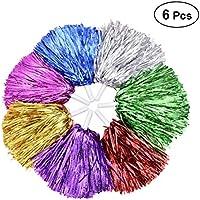 BESTOYARD Animadoras Pompones de Metálico Colores con Batuta Mango Pompones de Cheerleading y Animación Fiesta Accesorios 6 Piezas Color al Azar