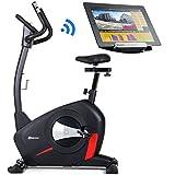 Hop-Sport Heimtrainer Ergometer HS-100H Fitnessbike Bluetooth Smartphone Steuerung 32 Widerstandsstufen 12 Programme WATT HRC BMI Schwungmasse 14,5 kg belastbar bis 150 kg