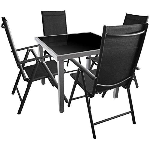 Gartengarnitur Sitzgruppe Sitzgarnitur Terrassenmöbel Glastisch 90x90cm Hochlehner 2x2 Textilen - 5tlg.