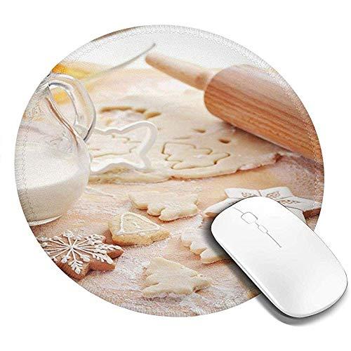 Runde Mausunterlage, Backen-Bestandteile zerstreut in Mehl-Lebkuchen-Milch in Einer Glas-Weihnachtsschwingung, rutschfeste Spiel-Mausunterlage