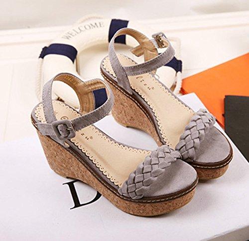 Damen Sandalen mit dicken Sohlen Flache Anti-Rutsch Fashion Bequeme Modische Schnalle Sandalen Pumps Grau