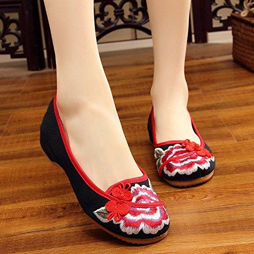 DESY Scarpe ricamate, suola a tendina, stile etnico, scarpe da donna, moda, comodo, casual all'interno dell'aumento Black