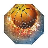 alaza La Quema de Viajes Baloncesto Blaze Fuego Llama Deporte Paraguas de Apertura automática Cerca de Protección UV a Prueba de Viento Ligero Paraguas