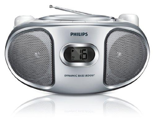 Philips AZ105S Lecteur CD/R/RW avec Tuner FM, Entrée Audio, Amplification des Basses, Utilisation Facile, 2W, Argent