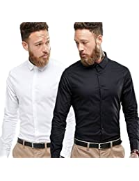 Combo Of Plain Black And White Casual Shirt 100% Cotton Shirt For Summers (pack Of 2)