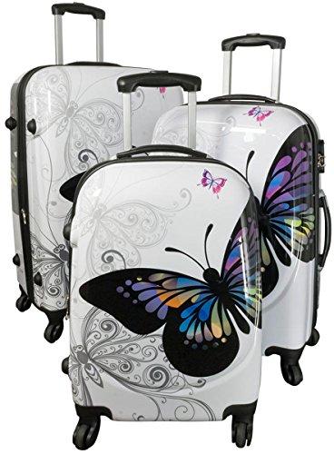 Kofferset Gepäckset Polycarbonat ABS Hartschalen Koffer 3tlg. Set Trolley Reisekoffer Reisetrolley Handgepäck Boardcase PM (Butterfly Weiß)