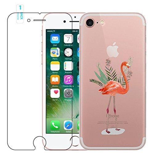 iPhone 6/6s Flamant rose Coque en silicone avec protection d'écran en verre trempé, Blossom01Ultra mince souple en gel TPU Coque de protection en silicone avec motif de dessin animé pour iPhone 6/6s  #14