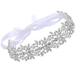 ArtiDeco – Accessorio per capelli da sposa, con cristalli, accessorio per acconciature da damigella nuziale, con foglie…