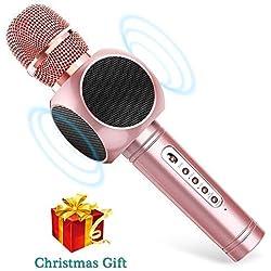 Micrófono Inalámbrico Karaoke Bluetooth 3.0 2 Portátil Altavoces Incorporados para Karaoke Batería de 2600mAh 3.5mm AUX Compatible con PC/iPad/iPhone/Smartphone, Color Rosado