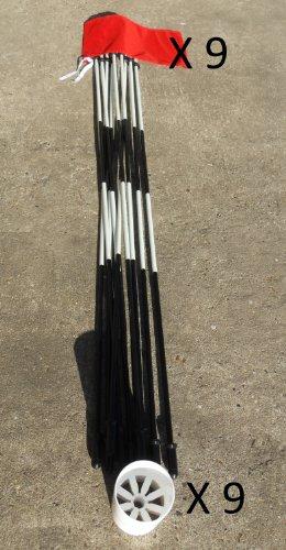 Golf Flagge Pins & Cups-6ft Schwarz und Weiß mit Rot Flaggen Fahnen und 3Putting Cups-9Stück -
