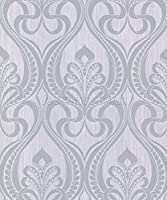 Grandeco Gold Art Nouveau Charcoal Wallpaper 113001 Metallic Glitter Damask from Grand Deco