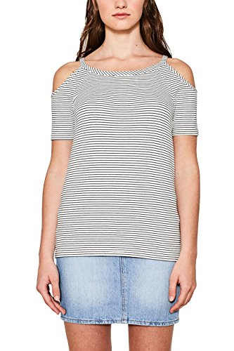 ESPRIT Damen T-Shirt 077EE1K005 Mehrfarbig (Off White 110), Medium