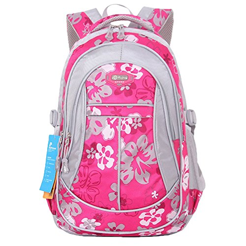 Asherbaby Flowers Pattern Backpacks for Girls Elementary School Students Book Bag (Rose)