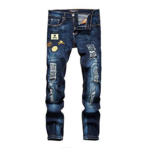 Worclub Straight Ripped Jeans for Men Skull Printing Badge Zipper Full Length Denim Jeans Men Long Pants Blue Plus Size