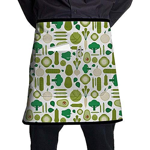 Judith Wat Taschen-Taillen-Schutzblech, grünes Gemüsemuster-Berufsschuster-halbes kurzes Schutzblech für Männer Frauen, Kochen, Grillen und Backen, haltbare einfache Obacht -
