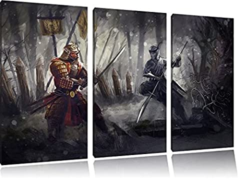 Kampf zwischen Samurai und Ninja 3-Teiler Leinwandbild 120x80 Bild auf Leinwand, XXL riesige Bilder fertig gerahmt mit Keilrahmen, Kunstdruck auf Wandbild mit Rahmen, gänstiger als Gemälde oder Ölbild, kein Poster oder (Hot Ninja Kostüm)